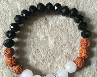 Rudraksha, onyx & rose quartz bracelet