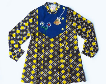70's Embroidered Pleated Dress French Stock 8-10 Years