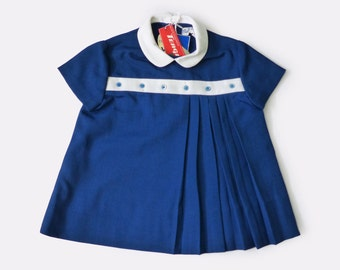 Vintage 60's Peter Pan Collar Pleated Blue Dress French Stock 9-12 and 12-18 Months