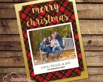 Merry Christmas Holiday Card with Photo - Plaid and Gold