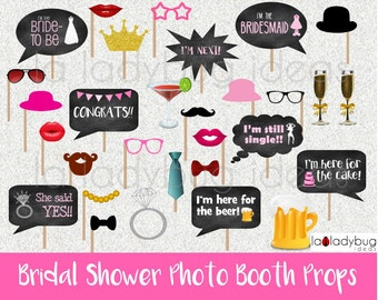 Bridal shower photo booth props. Printable. DIY Bachelorette bubble speech. Instant download. PDF Digital file. High resolution.