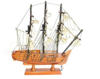 Wooden Ship Model - Nautical Home Décor - Mantle Sailboat Collectibles - Wood & Cotton