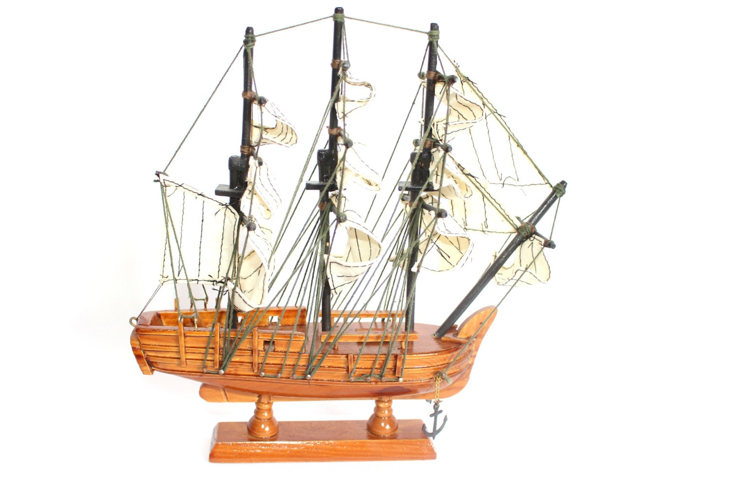 Wooden ship model nautical home d cor mantle sailboat for Ship decor home