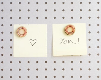 Decorative magnets - set of 4 - office - home office - mdf - lasercut - embroidered - wedding favour - S A L E !