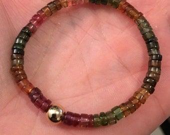 Tourmaline beads 14K  bracelet