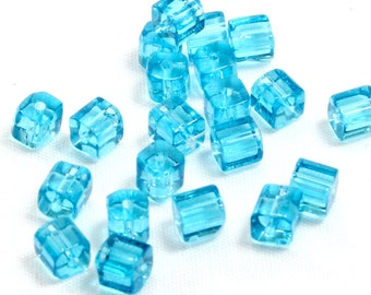 4mm Blue Glass Cube Beads. (20) Square Glass Beads for Making Jewelry. Small Square Beads. Sky Blue Beads with Rounded Edges. Blue Beads