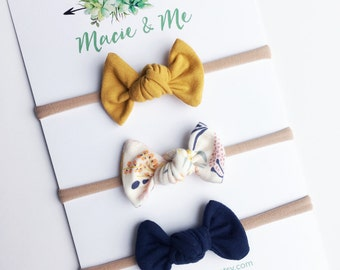 Mustard, Morning Daybreak, and Navy Tied Bows / Toddler Bows / Hair Clip / Nylon Headband / Yellow / Tied Bows / Modern Bows / Macie and Me