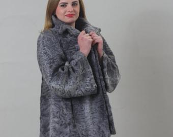 Luxury gift/Grey karakul Fur Coat  / Wedding,or anniversary present/All sizes available