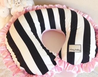 Black and White Stripe with Baby Pink Minky Reverse Nursing Pillow Cover