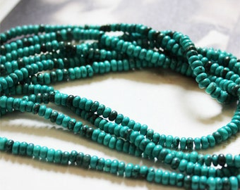 C18 Nature Chinese Turquoise Beads Supplies, Full Strand 4mm Rondelle Turquoise Spacer Beads for DIY Jewelry Making