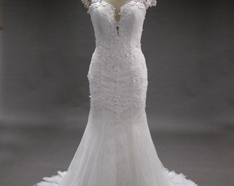 Lace see through back open back bridal wedding dress