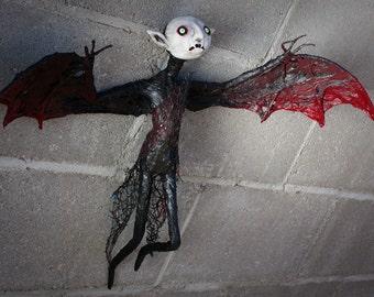 Ooak Edward Gorey inspired small hanging halloween vampire sculpture