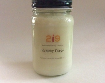Monkey Farts Scented Soy candles -floral scented candle - soy candle handmade - mason jar candles - hand poured soy candles - 16 oz.