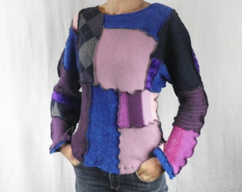 Blues & Purples Patchwork Sweater  Size M
