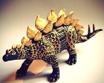 Black and Gold hand painted stegasaurus