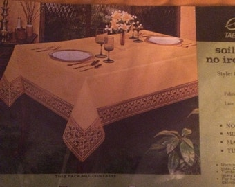 Vintage Gold Fabric Tablecloth    Sleater No Iron   Holiday Table Cover