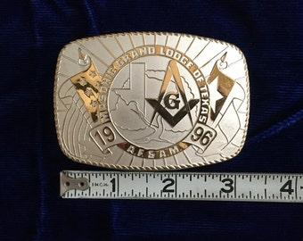 Vintage Masonic Belt Buckle - Masonic Grand Lodge of Texas 1996