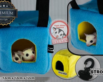 Sugar Glider Hedgehog Mouse Hamster Cage Pouch Blue Box Premium by SGA (+1 Keychain and Sticker)