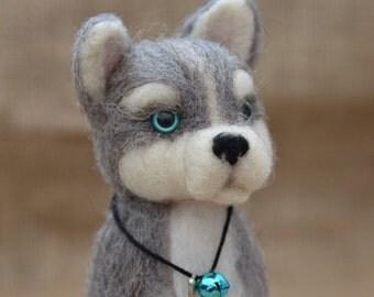 Siberian husky pup needle felted