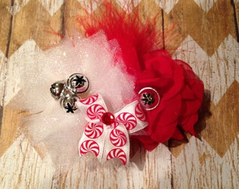 Red and White peppermint Christmas Clip