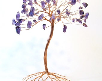 Amethyst Wire Tree Sculpture, Gemstone Tree of Life Statue, Handmade 3D Wire Art, Nature Inspired Housewarming Gift Tarnish Resistant Copper