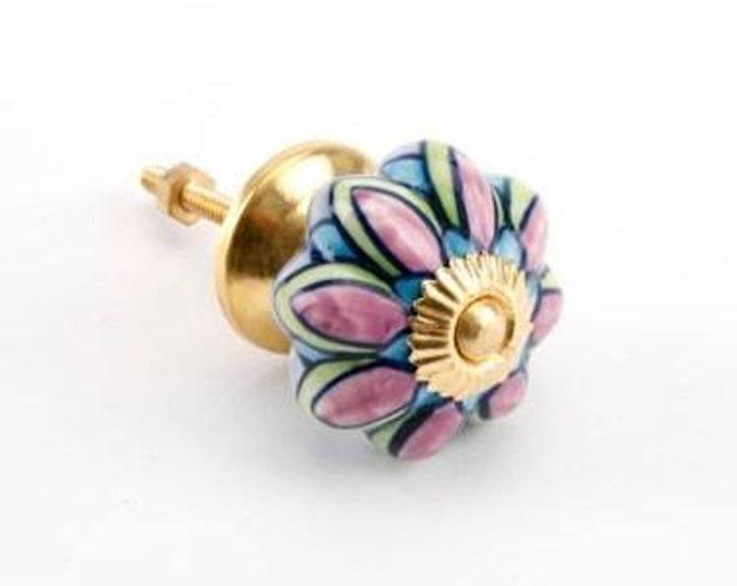 Colorful Scalloped Ceramic Furniture Knob/Drawer Pull