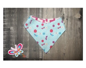 bandana reversible with flower and butterfly back chevron rose