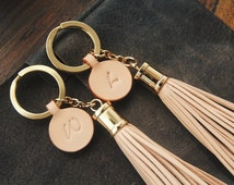 Personalized Leather Gift, Leather bagcharm, Leather Tassel Keychain, Leather name keychain