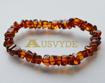 Baltic amber dark honey bracelet beads Gift for Mom, 100% natural Baltic ambber, honey color, 5055