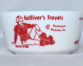 Gulliver's Travels Milk Glass Cereal Bowl