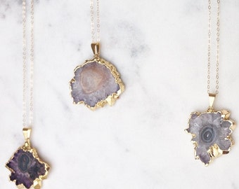 Gaia Gold Plated Amethyst Stalactite Pendant