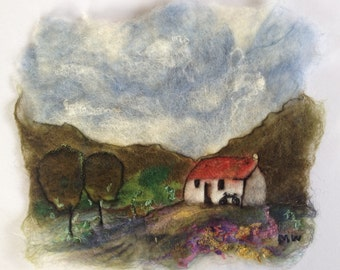 Irish Wet Felted Art, Little Cottage On A Hill