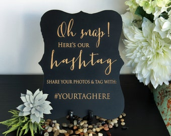 Custom Wedding Chalkboard Sign, Engraved Chalboard Sign, Wedding, Custom Signage, Wedding Signage Custom Engraved Sign --SIGN-CHLK-Hashtag
