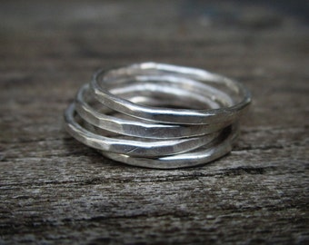 Silver stacking rings, silver hammered stack, sterling silver band, hammered band