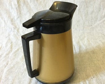 Vintage Thermo Serv Gold and Black Insulated Coffee Carafe