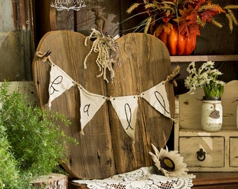 Wooden Pumpkin w/ Banner // Fall Decor // Fall Sign // Fall Banner // Fall Porch Decor