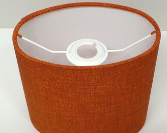 OVAL Burnt Orange / Rust Linen Effect Lampshade, Table Lamp, Pendant, Ceiling Shade