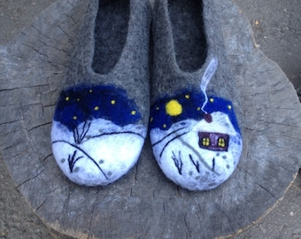 Gray felted wool slippers for woman, felted clogs, woolen clogs, womens house shoes, Mothers day gift