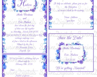 Shades of Purple and Blue Floral Wedding Invitation Set, Wedding Invitation set w/ Reply, Reception and Save the Date, Wedding Invitations