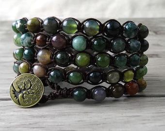 India Agate Bracelet 5 Rows Bracelet Wrap Bracelet Multi Colors Beads Bracelet  SL-0096