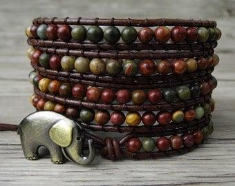 bead wrap bracelet  picasso jasper bead bracelet Leather wrap bracelet Gemstone bracelet Western bracelet Boho beaded bracelet SL-0176