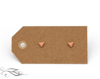 The tiniest Rosé triangles - hand-soldered studs 4 mm copper and stainless steel