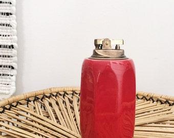 Vintage Red Ceramic TableTop Lighter