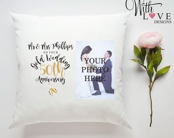 50th Golden Wedding Anniversary Mr & Mrs Couple Love Relationship Personalised Custom Made Pillow Cushion Photo Gift Customised