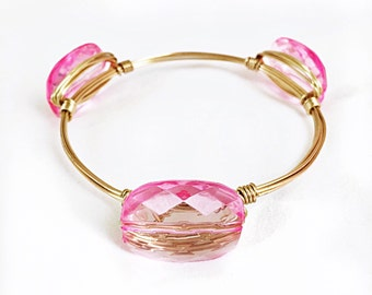 Light Pink wire wrapped bangle bracelet jewelry