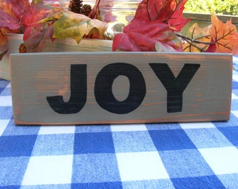 JOY Wood Sign - Shelf Decoration - Christmas Wood Sign - One Word Sign - Handpainted Green and Black Sign