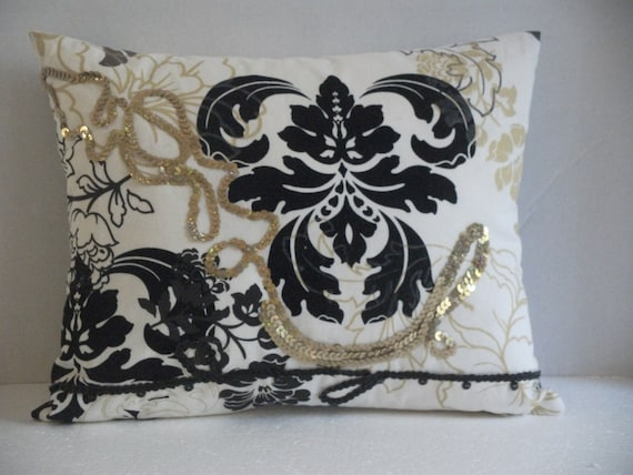 Black and Gold Accent Pillow Throw Pillow Black and