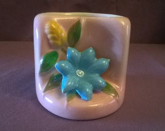 Vintage Vase/Planter Pink with Blue Flower and Yellow Bud, 1950's