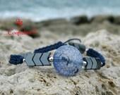 Blue Agate Bracelet - Boho Chic Bracelet - Beach Bracelet - Layering Bracelet - Hematite Bracelet - Everyday Bracelet - Adjustable Bracelet