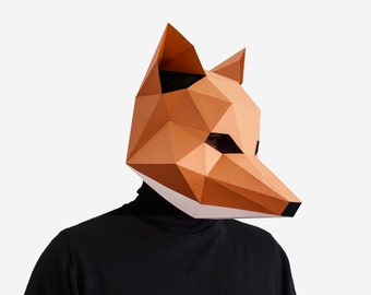 Fox Mask, DIY printable Animal Head, Fantastic Mr. Fox,Instant Pdf download, DIY New Year Mask, 3D Polygon Masks, Printable Paper Mask